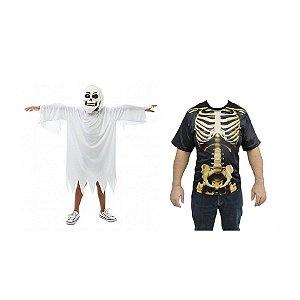 Fantasia Fantasma Infantil E Camiseta Caveira Esqueleto Adulto