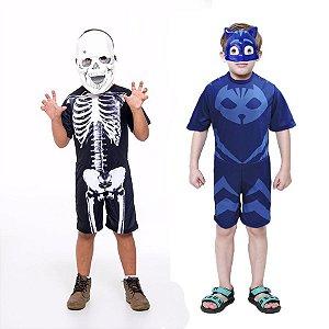Fantasia Caveira Esqueleto E Menino Gato Masks 2 Mascara