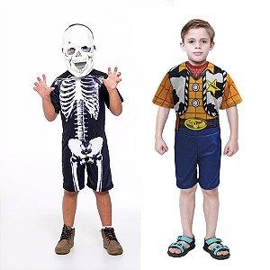 Fantasia Caveira Esqueleto E Woody Toy Story Infantil