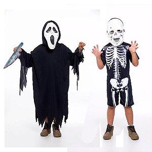 Fantasia Panico C/ Faca E Caveira Esqueleto Infantil