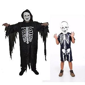 Fantasia Caveira Adulto E Esqueleto C/ 2 Infantil Halloween
