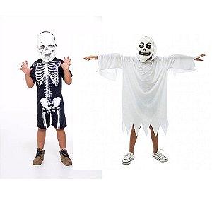 Fantasia Esqueleto E Fantasma Infantil C/ 2 Mascaras