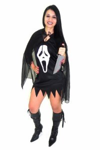 Fantasia Panico Feminina E Bruxa Morcego Adulto Halloween