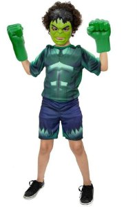 Fantasias Hulk Com Luvas E Máscara Meninos Infantil