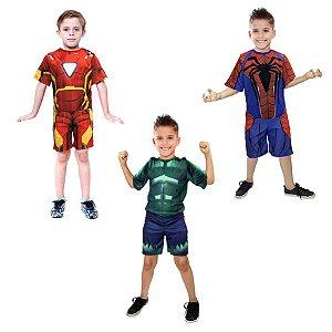 Fantasias Homem De Ferro, Hulk E Homem Aranha Infantil Herói