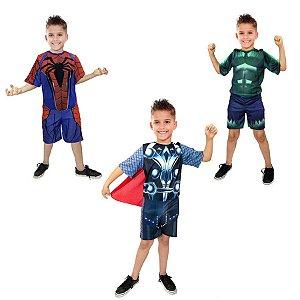 Fantasia Thor Hulk E Homem Aranha Super Heróis Infantil