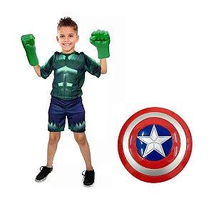 Hulk com luvas e sem mascara e escudo capitão america