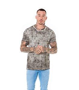 Camiseta Algodão Slim Palmeiras Quadriculado Preto