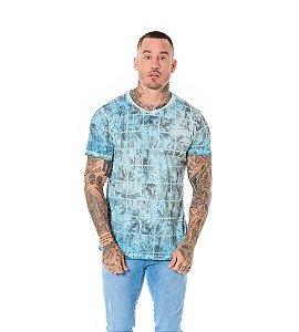Camiseta Algodão Slim Palmeiras Quadriculado Azul