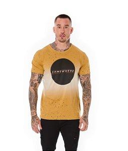 Camiseta Algodão Slim Full Somewhere Ocre