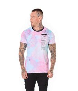 Camiseta Algodão Slim Full Tie Dye Indestructible Rosa