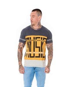 Camiseta Algodão Slim Recorte Sound Track Mescla Escuro