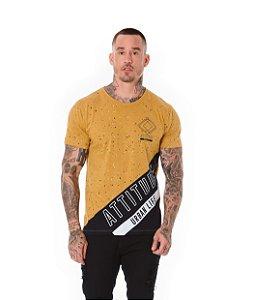 Camiseta Algodão Slim Recorte Attitude Ocre