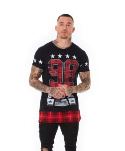 Camiseta Algodão Slim Long 98 Detalhe Xadrez Preto