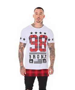 Camiseta Algodão Slim Long 98 Detalhe Xadrez Branco