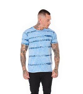 Camiseta Algodão Slim Estonada Amarração Jeans Sky