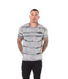 Camiseta Algodão Slim Estonada Amarração Chumbo Sky