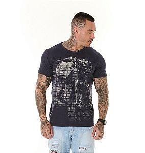 Camiseta Algodão Slim Full Corrosão Moto Com Palavras Marinho