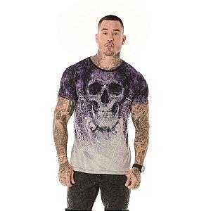 Camiseta Algodão Slim Full Corrosão Caveira Roxa