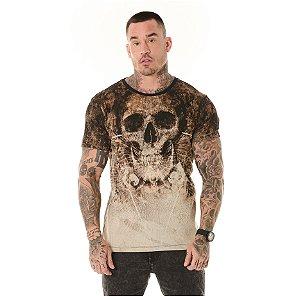 Camiseta Algodão Slim Full Corrosão Caveira Ocre