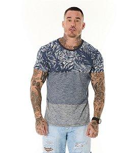 Camiseta Algodão Slim Full Listras+Folhagens Marinho