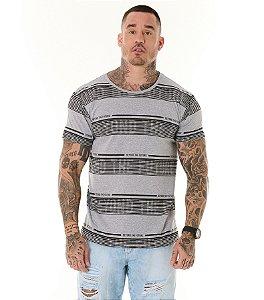 Camiseta Algodão Slim Listras Beyond The Future Mescla Claro