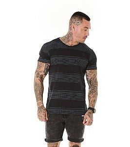 Camiseta Algodão Slim Listras Beyond The Future Preto