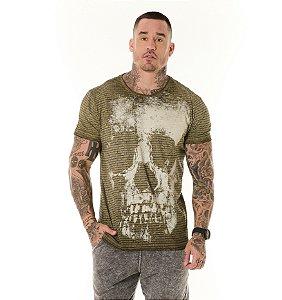 Camiseta Algodão Slim Vintage Full Textura + Caveira Verde Militar