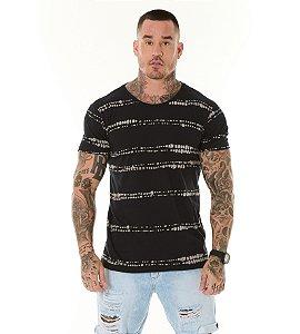 Camiseta Algodão Slim Full Faixas Textura Preto