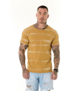Camiseta Algodão Slim Full Faixas Textura Ocre