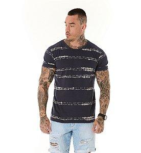 Camiseta Algodão Slim Full Faixas Textura Marinho