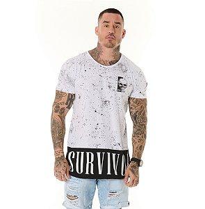 Camiseta Algodão Slim Recorte Survivor Full Print Branca