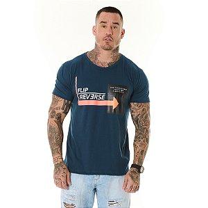 Camiseta Algodão Slim Flip Reverse Gel Petroleo