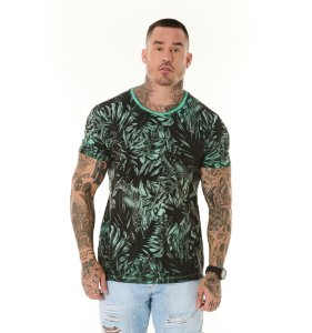 Camiseta Algodão Slim Vintage Full Folhagens Verde