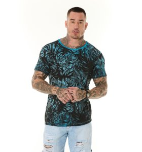 Camiseta Algodão Slim Vintage Full Folhagens Azul