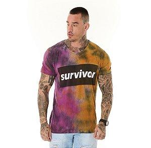 Camiseta Algodão Slim Tie Dye Survivor Rosa