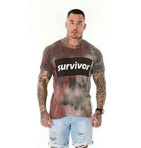 Camiseta Algodão Slim Tie Dye Survivor Vermelha