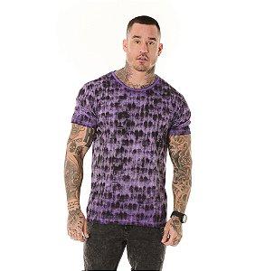 Camiseta Algodão Slim Vintage Textura Roxo