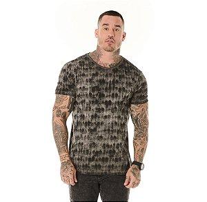 Camiseta Algodão Slin Vintage Textura Preto