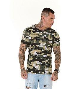 Camiseta Algodão Slim Full Camuflado Frase Verde Militar