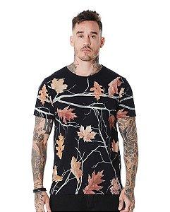 Camiseta Algodão Slim Full Corrosão Folha Maple