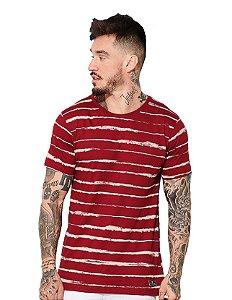 Camiseta Algodão Silk Listras Couro
