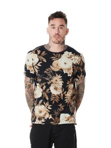 Camiseta Algodão Slim Full Print Floral Old
