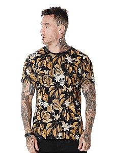 Camiseta Algodão Slim Caveira Folhas e Flores