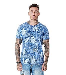 Camiseta Algodão Slim Full Print Folhas Sky