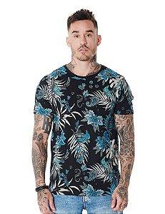 Camiseta Algodão Slim Full Corrosão Pássaro Paisley
