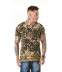 Camiseta Algodão Slim Folhas Estonado