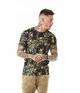 Camiseta Algodão Slim Arara e Flores