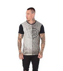 Camiseta Algodão Slim Lavanderia e Listras + Mangas Preto
