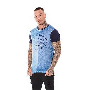 Camiseta Algodão Slim Lavanderia e Listras + Mangas Marinho